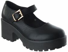 LADIES WOMENS CHUNKY MID BLOCK HEEL STRAPPY PLATFORM MARY JANE BUCKLE SHOES SIZE