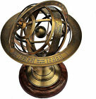 11 Nautical Maritime Solid Brass Sphere Armillary Collectible Decor Wooden Base