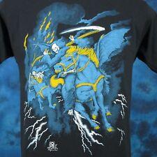 vintage 80s GRIM REAPER DEMON HORSE PAPER THIN T-Shirt SMALL skeleton biker punk