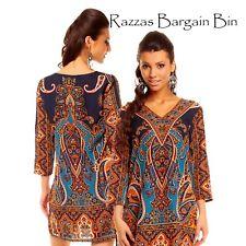 New Ladies Blue Tribal Kaftan Top Dress Size 10AU/12UK (1108)OZ