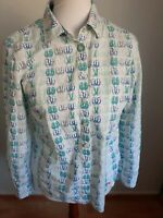 Talbots Long Sleeve Button Down Size S Shirt Top Blouse Sandal Blue White Career