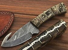 """Damascus Gut Hook Fixed Blade Knife with Ram Horn Handle & Leather Sheath/8"""""""