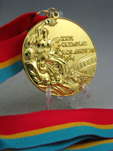 1984 Los Angles Olympic Gold Medal with Ribbons & Stand 1:1 **Free Shipping**