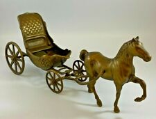 """Vintage Brass Horse and Carriage Ornament 15"""" LONG  - (LOU)"""
