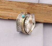 Solid 925 Sterling Silver Turquoise Spinner Ring Meditation Ring Anxiety Ring Q7