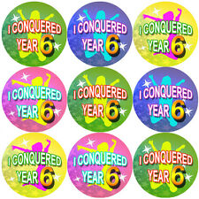 144 I Conquered Year 6 - End of Term 5th grade Teacher Reward Stickers Size 30mm