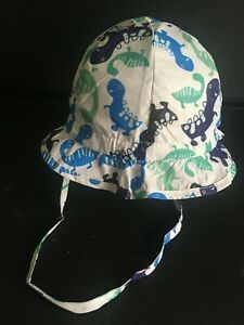 Licus Meekera Baby Kids White Dinosaur print summer Hat BNIB size 1 - 2 years