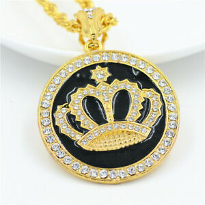 Men'S Gold Chain Round Crown Inlay Rhinestone Pendant Necklace Jewelry New