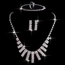 Hot Silver Plated Rhinestone Necklace Bracelet Earrings Ring Wedding Jewelry Set