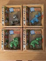 New Lot 4 StickBot Safari Pets: 1 Elephant 1 Lion 1 Hippo 1 Rhino Action Figures