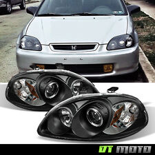 Blk 96-98 Honda Civic LED Dual Halo Projector Headlights Lights Lamps Left+Right