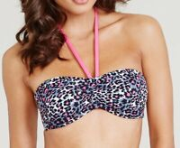 LADIES Marie Meili Animal Print BANDEAU HALTERNECK BIKINI TOP Kaelani Black Pink