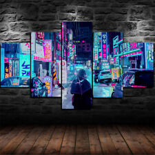 Framed Neon Night City Japan Canvas Print Wall Art Home Decor 5 Piece