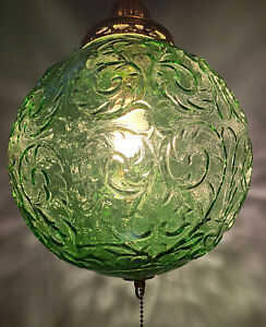 Vintage Swag Lamp Green Glass Hanging Light On Chain
