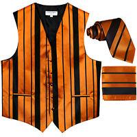 New Men's vertical stripes Tuxedo Vest Waistcoat_tie & hankie black gold formal