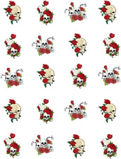 Skulls and Red Roses Waterslide /Water Transfer Nail Decals/Nail art