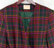 Pendleton Women's Size 10 Red Blue Pink Wool Geometric Blazer Coat Jacket USA
