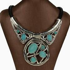 New Genuine Turquoise Chunky Choker Bib Collar Statement Necklace Pendant