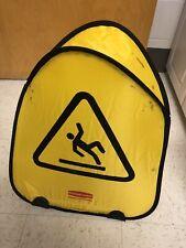 Case Lot Of 12 Rubbermaid Caution Slippery 21 Nylon Soft Pop Up Sign Wet Floor