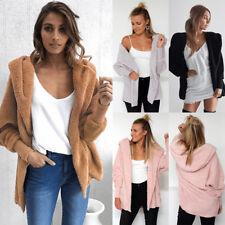 Women Winter Fluffy Ladies Cardigan Coat Top Jacket Hooded Fleece Sweater Jumper