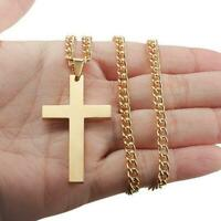 Simple Plain Cross Pendant Chain Necklace Jewelry Mens Black/Gold/Sliver Gi U1N2