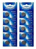 10 x CR1632 3V Lithium Batterie auf 2 Blistercard a 5 Stück Eunicell