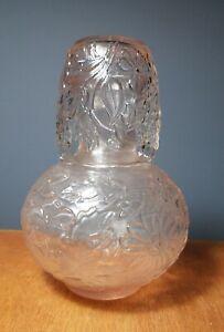 """Vintage Pink Depression Glass Tumble Up Bedside Water Carafe Tumbler Set 7-1/2"""""""