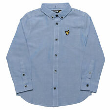 Junior Boys Lyle And Scott Oxford Shirt In Sky- Button Down Collar- Curved Hem-