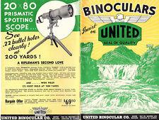 United  Binoculars Telescopes Rifle Scopes Vintage Illustrated Catalog 1950's
