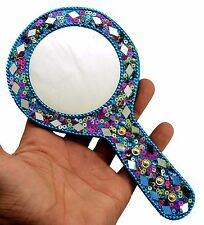 Home decor item A Round Hand Mirrors 7 Inches Dia - 2.8 Inches Blue