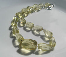 "Huge Lemon Quartz Nugget Argentium Silver 19"" Necklace"