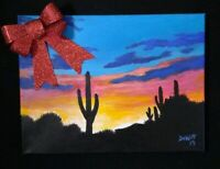 Sunset desert gift painting  Arizona  picture original artist acrylic on canvas