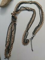 Vintage mixed metal chain lariat necklace