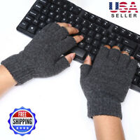 Man Knitted Wool Fingerless Half Finger Mittens Riding Warm Gloves Out/Indoor