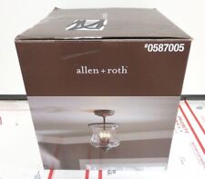 allen + roth Yately 8.68-in W Aged bronze Clear Glass Semi-Flush Mount Light