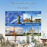 Chad Stamps 2021 MNH Statue of Liberty Big Ben Eiffel Tower Taj Mahal 4v IMPF MS