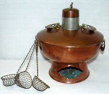 Vintage Chinese Mongolian Copper Fire Pot With Cooking Baskets