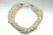 6 Reihiges Keshi Perlen Armband mit 585er Gold Verschluss