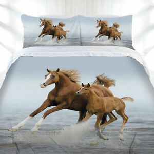 Mare & Foal Duvet Doona Quilt Cover Set Frolicking Horse   Galloping   Single