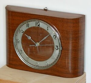 Vintage 29cm French Formica Wall Clock - Retro Wooden Mid Century Atomic Mantel