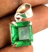 Natural 925 Sterling Silver Pendant Muzo Emerald 15.10 Ct Emerald Cut Certified