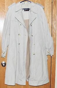Men's Members Only Full-Length Belted Taupe Raincoat w/Winter Liner - Medium