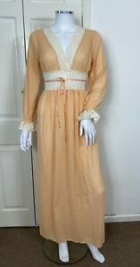 True Vintage Dress Fits UK 8 - 10 Peach Maxi 1970s Nightdress V Neck Silk Blend