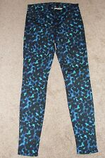 New Womens J Brand Jeans Sz 26 Black Blue Spotted Super Skinny Jeans