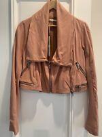 WILLOW Leather Lambskin Draped Jacket AUS/UK Size 12 - BNWT RRP $ 995.00