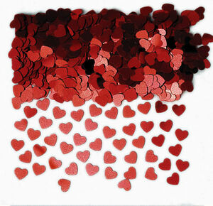 Red Hearts Table Confetti Sprinkles Ruby Wedding, Valentines Table Decorations