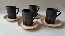 FOUR VINTAGE C1970'S RAY COOK SIGNED COFFEE CUPS AND SAUCERS - MADE IN AUSTRALIA