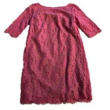 Robert Rodriguez Solid Pink Floral Lace Quarter Sleeve Midi Casual Career Dress