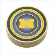 Michigan WOLVERINES Coasters Set Ceramic Blue Gold Football Gift Fathers Day