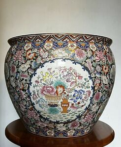 """Antique over 30 Yr Old Chinese Pottery Large Porcelain Fishbowl Planter-18"""""""
